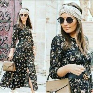 Zara black floral print shirt button down midi dre